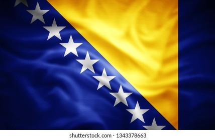 Bosnia and Herzegovina flag of silk -3D illustration