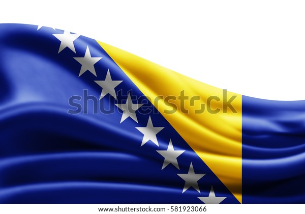 Bosnia and Herzegovina flag of silk with copyspace for your text or images and white background -3D illustration