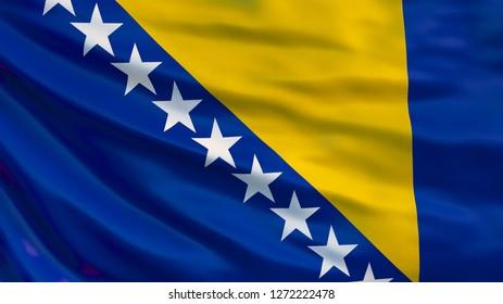 Bosnia and Herzegovina flag. Waving flag of Bosnia and Herzegovina 3d illustration. Sarajevo