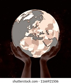Bosnia and Herzegovina on globe in hands in space. 3D illustration.