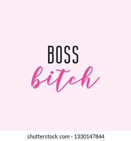 Boss bitch typography with pink background