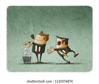boss is breaking a contract and throwing it into the bin while employee is behind surprised