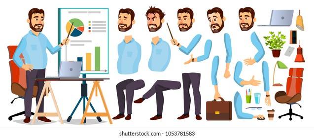 Boss Business Man Character. Working Bearded CEO Male. Start Up. Modern Office Workplace. Chief Executive Officer, General, Colonel, Capital. Animation Set. Face Emotions. Illustration