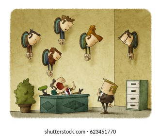 A boss in his office talks to an employee. On the wall of the office there are trophies with heads of employees