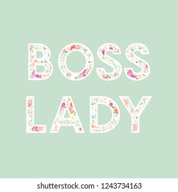 Boss Lady Art Print Quote. Girl Boss Background
