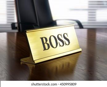 Boss nameplate on wooden table. 3d illustration