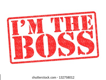 I'M THE BOSS Rubber Stamp over a white background.