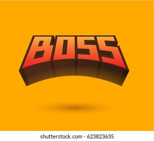 Boss Text for Title or Headline. In 3D Fancy Fun and Futuristic style