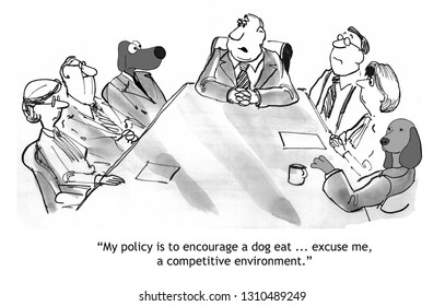 Boss with two dogs on his sales team encourages them to compete with each other