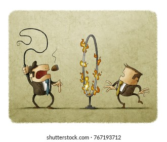 boss with a whip in his hand is signaling an employee to pass through a hoop of fire. Submission concept.