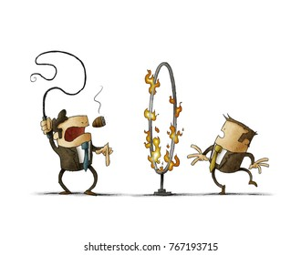 boss with a whip in his hand is signaling an employee to pass through a hoop of fire. Submission concept. isolated