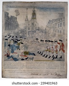 Boston Massacre. British troops shoot into and a crowd in Boston, Mass. on March 5, 1770, killing five civilians. Engraving by Paul Revere with watercolor.