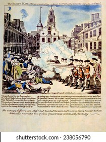 The Boston Massacre, March 5, 1770, broadside engraved, printed and sold by Paul Revere, 1770