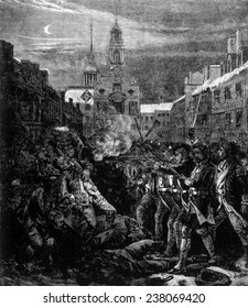 The Boston Massacre, March 5, 1770, illustration from Leslie's Monthly, 1880