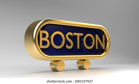 Boston sign on gold, 3d render.