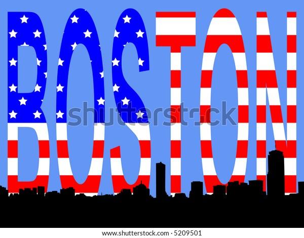 Boston skyline against American Flag illustration JPG