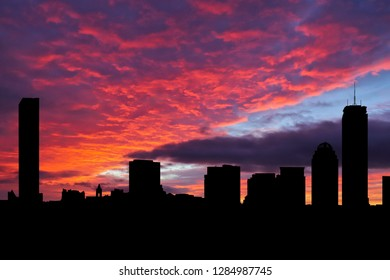 Boston skyline silhouette on colourful sunset background illustration