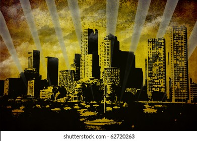Boston skylines over St Charles river,  illustration on grunge background
