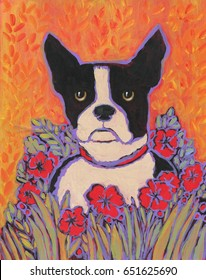 Boston Terrier painting with red flowers and orange background