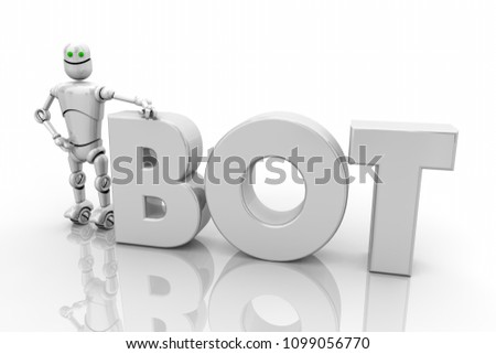 Bot Android Robotics Technology Word Render Stock Illustration