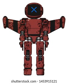 Bot containing elements: digital display head, x face, light chest exoshielding, prototype exoplate chest, stellar jet wing rocket pack, prototype exoplate legs.