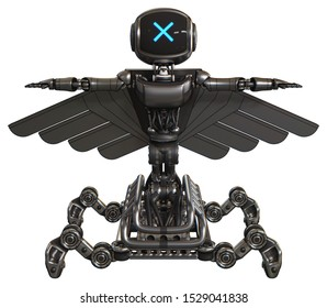 Bot containing elements: digital display head, x face, light chest exoshielding, ultralight chest exosuit, pilot's wings assembly, insect walker legs. Material: Metal. Situation: T-pose.