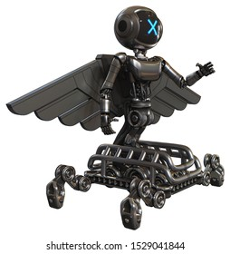Bot containing elements: digital display head, x face, light chest exoshielding, ultralight chest exosuit, pilot's wings assembly, insect walker legs. Material: Metal. Situation: Interacting.