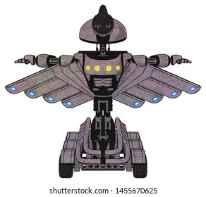 Bot containing elements: gatling gun face design, light chest exoshielding, yellow chest lights, cherub wings design, six-wheeler base. Material: Dark sketch. Situation: T-pose.