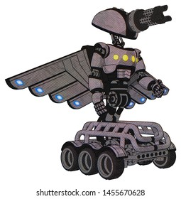 Bot containing elements: gatling gun face design, light chest exoshielding, yellow chest lights, cherub wings design, six-wheeler base. Material: Dark sketch. Situation: Facing left view.