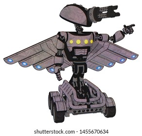 Bot containing elements: gatling gun face design, light chest exoshielding, yellow chest lights, cherub wings design, six-wheeler base. Material: Dark sketch.