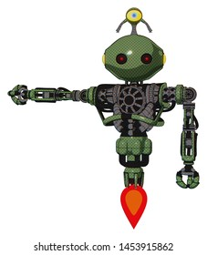 Bot containing elements: oval wide head, small red led eyes, minibot ornament, heavy upper chest, no chest plating, jet propulsion.
