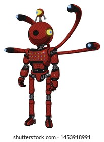Bot containing elements: oval wide head, minibot ornament, light chest exoshielding, chest green blue lights array, blue-eye cam cable tentacles, ultralight foot exosuit. Material: Cherry tomato red.