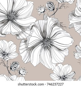 Botanical drawing flowers cosmos pattern. Seamless flower pattern background with Cosmos flower drawing illustration for wedding table, greetings, wallpaper, fashion, backgrounds, wrappers, cards