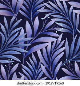 Botanical floral seamless pattern. Hand painting illustration with leaves. Stylish digital painting fabric design.