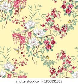 Patrón De Flor Botánica, Diseño Digital Sin Marea, Diseño Abstracto De Alteración Textil De Acuarela.Con Fondo