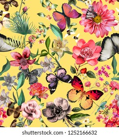 Botanical flowers and butterflies yellow background