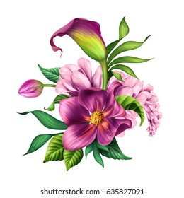 botanical illustration, beautiful tropical flowers bouquet, arrangement, floral clip art isolated on white background