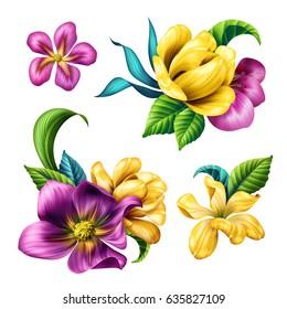 botanical illustration, beautiful tropical flowers, floral clip art, design elements set, isolated on white background