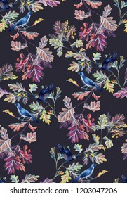 Botanical seamless pattern with birds, oak branches, leaves and acorns. Nature motif drawn by color pencils isolated on black. Great for bedding, fabric, clothes, wallpaper, wrapping.