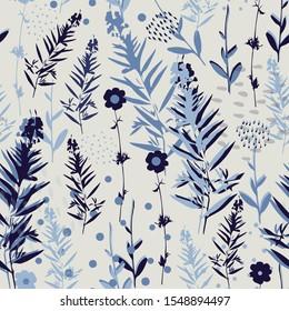 Botanical seamless pattern in blue colors, raster version