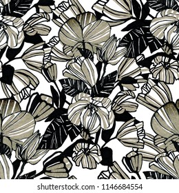 Botanical seamless pattern. A pattern of flowers with gold. Hand drawn graphics. Design for backgrounds, wallpapers, covers and packaging.