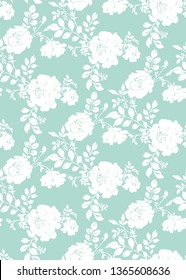 Botanical seamless pattern. Silhouettes of large opulent blooming roses. Background with flower buds and leaves in vintage style. Plane ornament for textile and fabric.