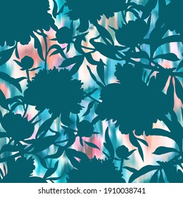 Botanical seamless pattern. Silhouettes of large abstract garden flowers, leaves and herbs. Hand drawn floral background in vintage style.