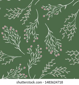 Botanical seamless pattern. Tender field plants on a green background. Vintage floral wallpaper. Ideal for the design of wrapping paper, cards, scrapbooking, fabric.