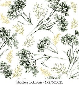 Нand-drawn botanical seamless pattern wild herbs, twigs and leaves for your design projects and business