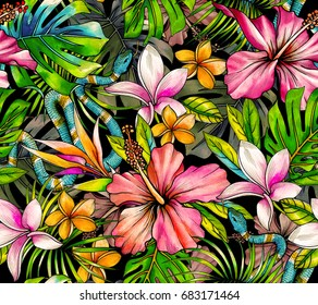 botanical tropical pattern with beautiful flowers and snakes, vipers. Seamless watercolor pattern for fashion, interior. Vibrant illustration on black background.