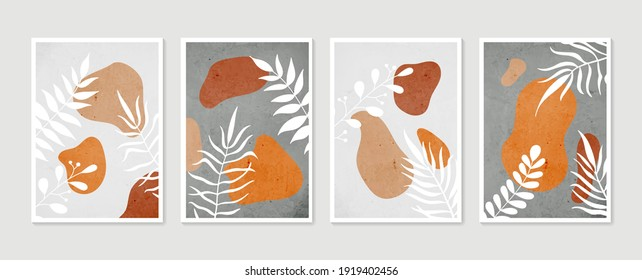 Botanical wall art set. Minimal and natural wall art. Boho foliage line art drawing with abstract shape. Abstract Plant Art design for print, wallpaper, cover. Modern illustration.