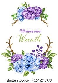 Botanical wreath of green branches and leaves blue violet wreath floral Design elements hand drawn watercolor illustration