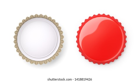 Both sides of a red metal bottle cap , isolated on white ,  3d render
