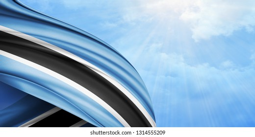Botswana flag of silk with copyspace for your text or images and sky background-3D illustration